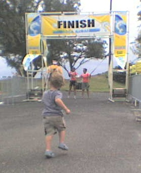 Sammy gets to cross a real finish line!