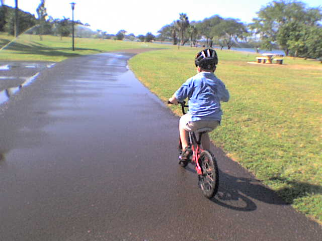 Biking around at Hickam - some really huge sprinklers to chase!