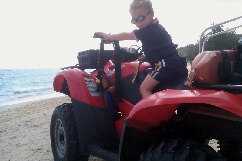 Ben got sit on an ATV on the beach!