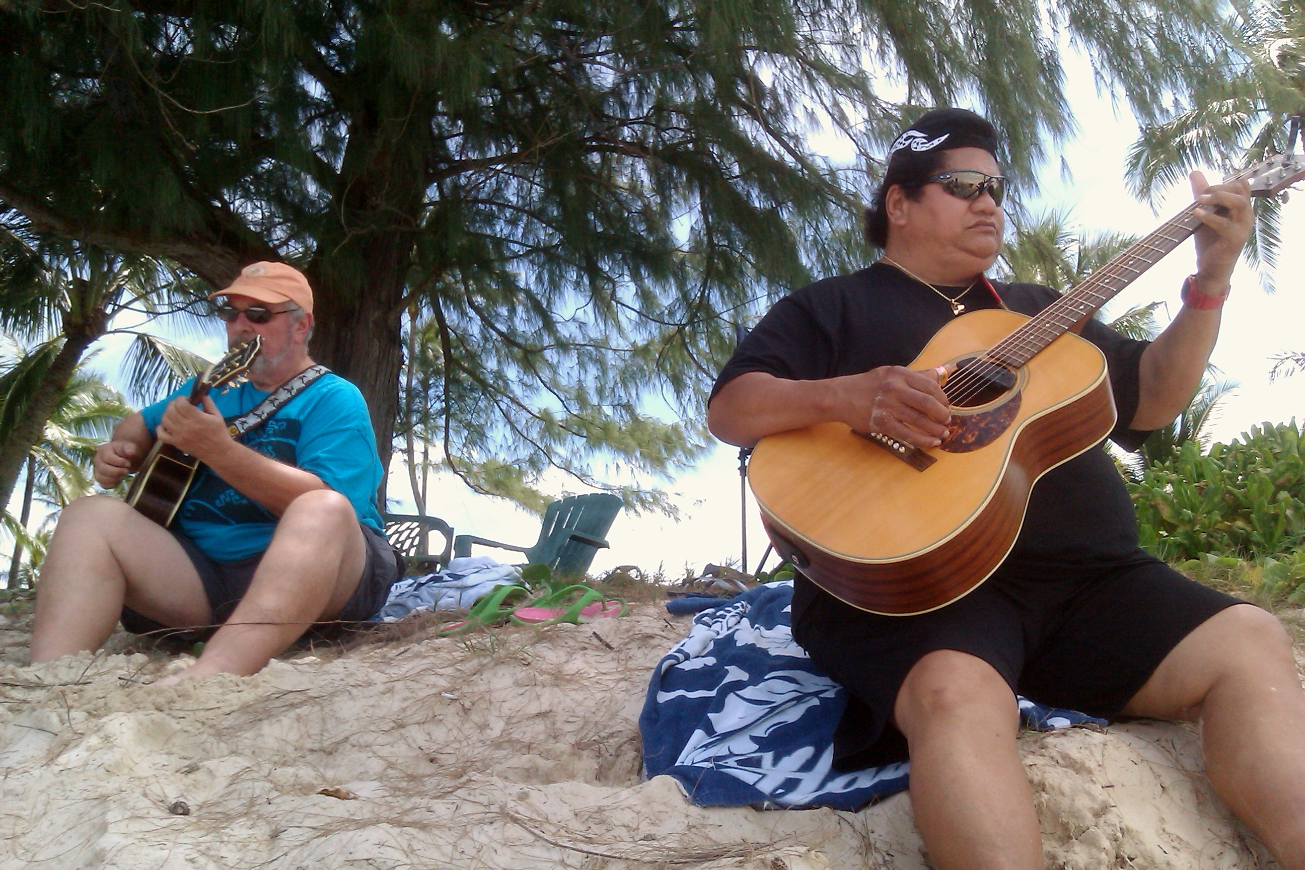 Ledward Kaapana and friend playing just for fun at Kailua Beach.