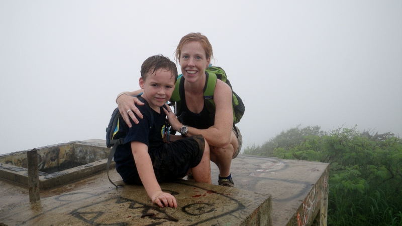Some time on the trail with my first hiker buddy. We had a great time together despite the crazy weather! The rain mist kept us cool and our chatter kept our spirits bright. Click picture for more of the family - everyone did it!