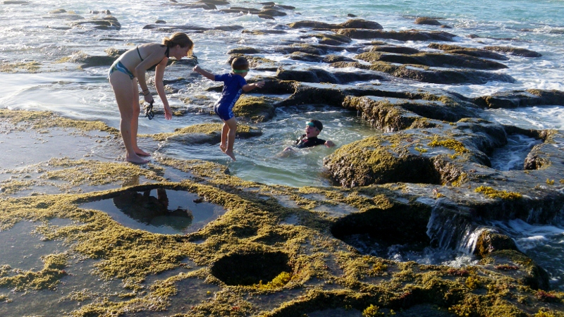 These tide pools emerge in the winter when the sand is relocated by the north swells. It's a tad chillier for swimming, but when you're jumping in and out, working hard, you hardly notice it in the warm afternoon sun.