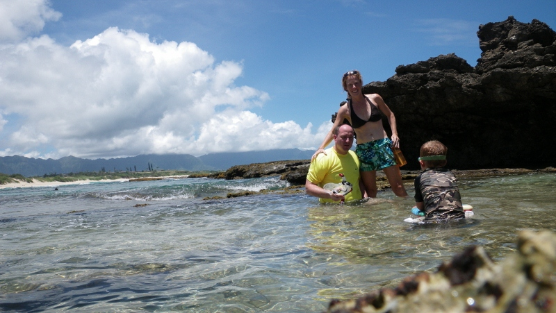 Then to some of our favorite tide pools for some snorkeling. Gorgeous day! I set the camera up for this shot and barely made it in :)