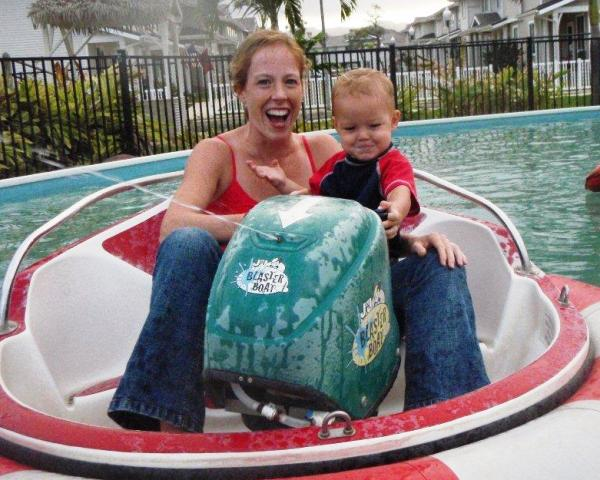 """Bumper boats for Sam's """"official"""" birthday party with the family."""