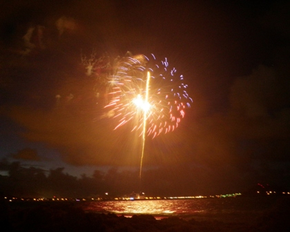 Fireworks at Kailua Beach - saved by donations.