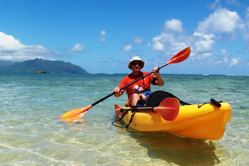 Dave and Ben kayaking in Kaneohe Bay today.