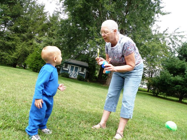 Grammie and Ben playing with bubbles!