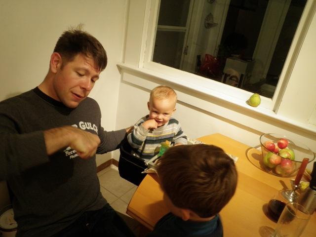 Josh teaching the fist bump