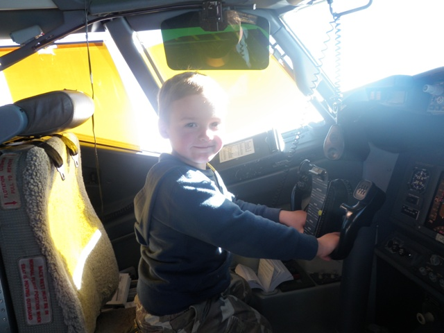Sam gets a chance to fly the plane!