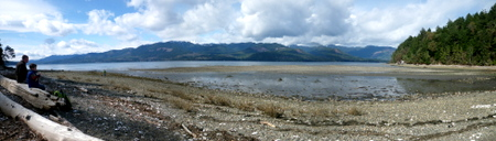 The view from Guillemot Cove across the Hood Canal to the Olympics, and The Brothers peaks.