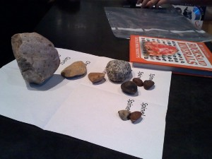 Showing his collection to a docent at the museum who studied geology. Comparing notes on his identification - seems he got them right with one in question!