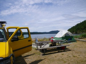 At Lopez Island now. We scouted out this campground (Odlin) then over to Spencer Spit to see if it was more to our liking. We settled on this one and nabbed the last beachfront campsite. We ran into some nice mountain bikers who were biking the islands and some other nice campers.