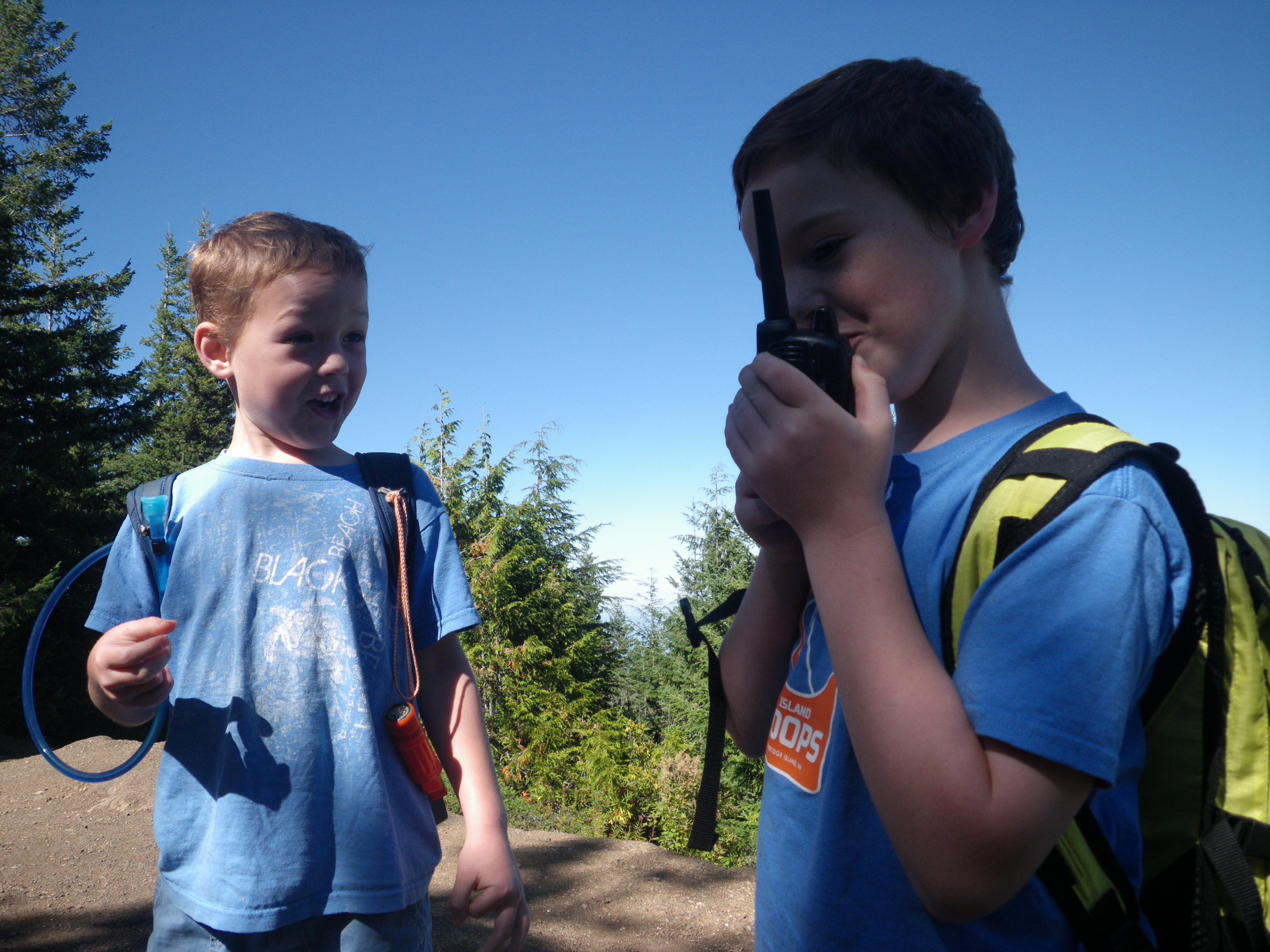 Having fun with walkie talkies!