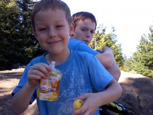 Snack time at the summit! Always fun. They packed their own snacks - even more fun for them!