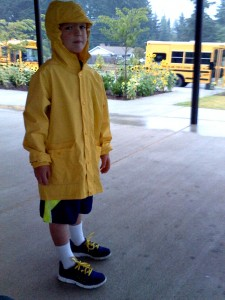 Going in for his assessment before the first day of school. Doesn't he look cute? And see all those great sunflowers?