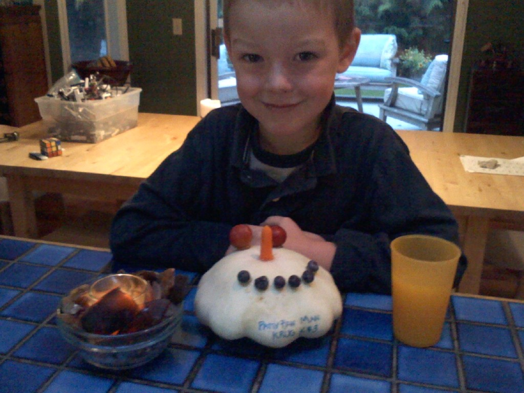 Harvest Fair creation. Both boys were sick that week, and Sam was out of school so Ben made the creation that morning. It's a patty pan squash from our garden.