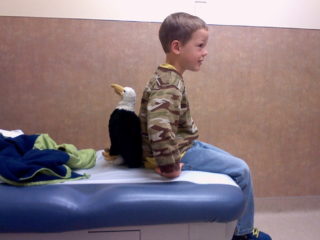 Ben is the next to go to the doctor. Eagle came, too.