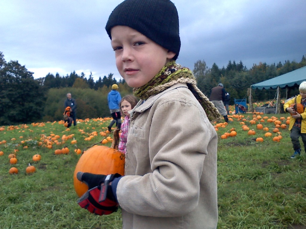 At the pumpkin patch. Poor guy was pretty sick but really really wanted to go.