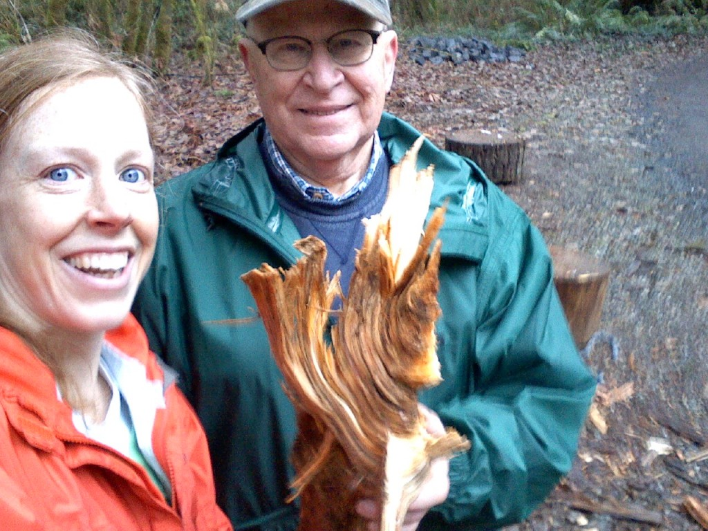 This was one GNARLY piece of wood! It took both of us to split it. Thank you, Dad, for being my buddy out there as I finally got my pile split!