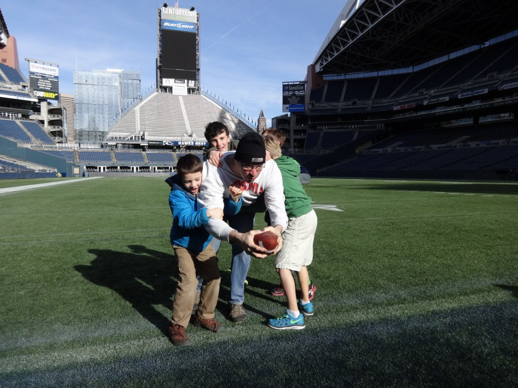 On a tour of the stadium where the Seahawks won their AFC title and advanced to the Super Bowl!