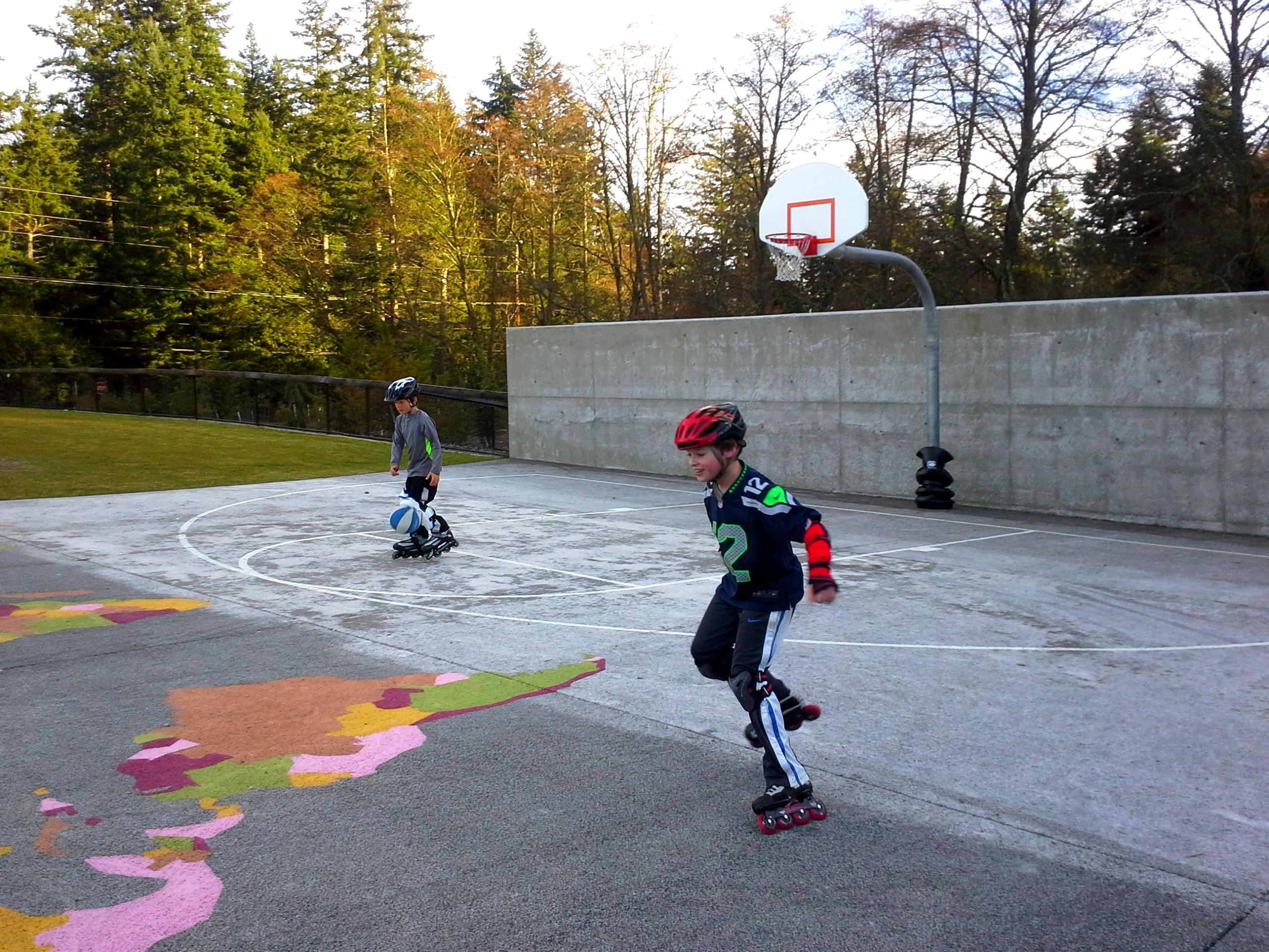 Sam doing basketball on skates! It was really funny.