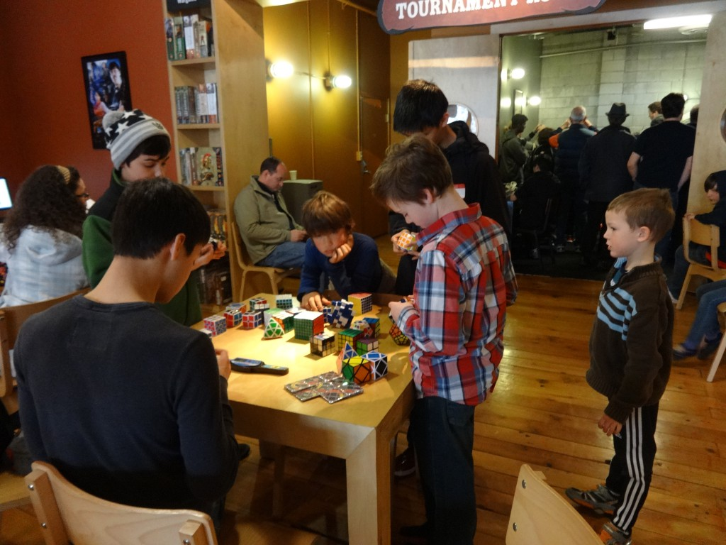 Hanging with the cubers. This part was the most fun for Sam, I think, just hanging out with other cubers and trying different puzzles.