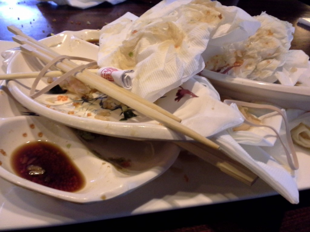 Reward for successful science fair setups! This is the sushi carnage! You would not believe how much sushi these two guys eat. I spent $73 dollars just on them. Water for me. Two mochi ice creams. Unreal!
