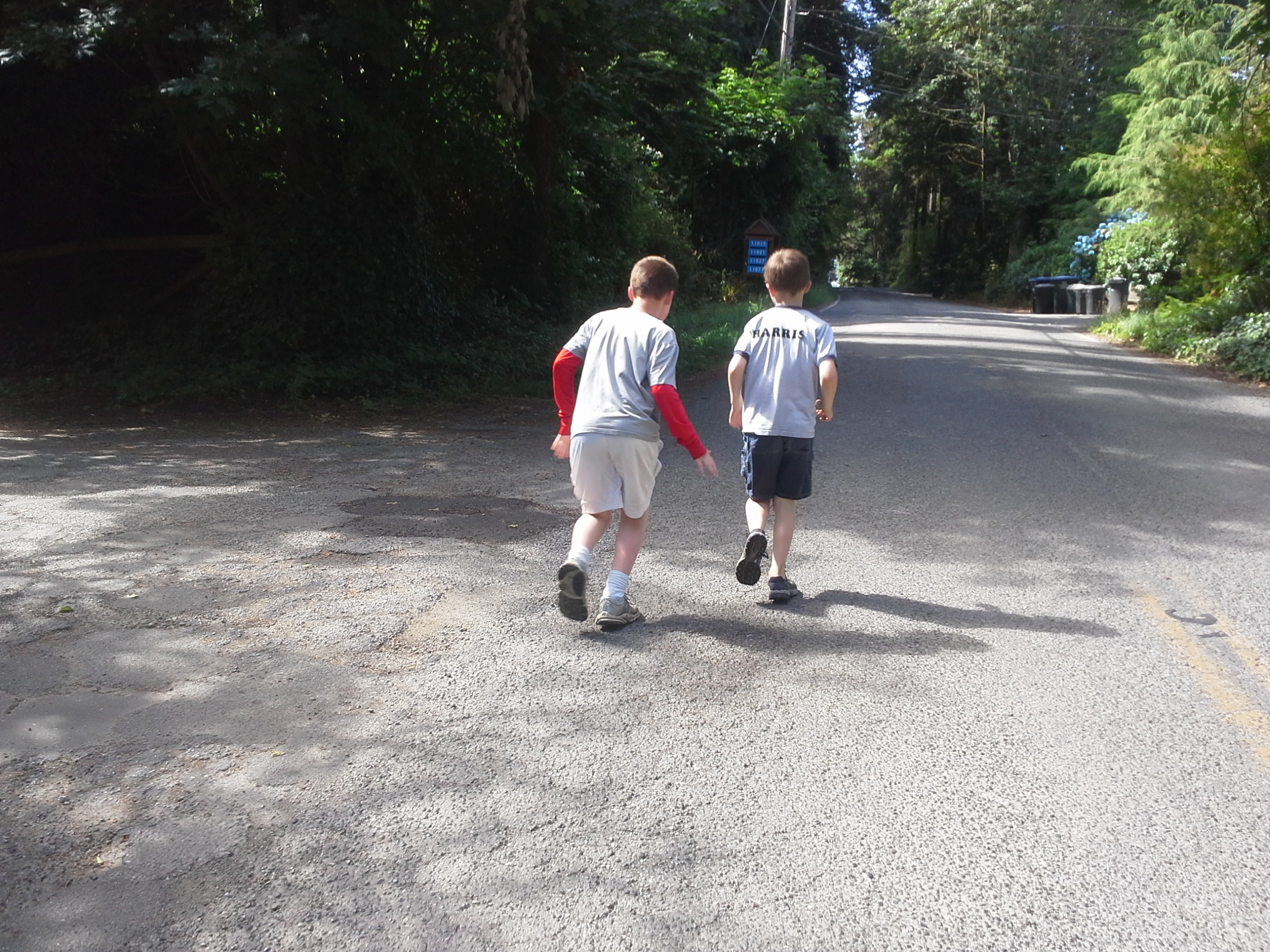 The guys out jogging.