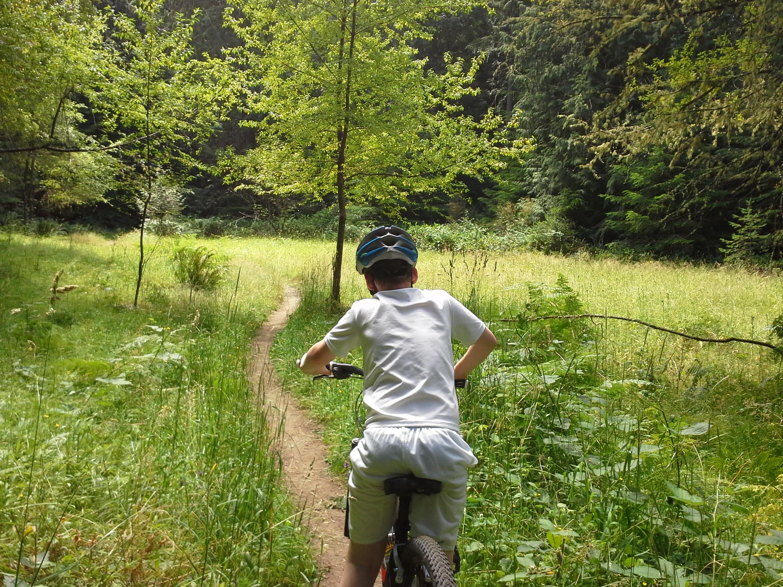 Mountain biking in Gazzam Preserve.