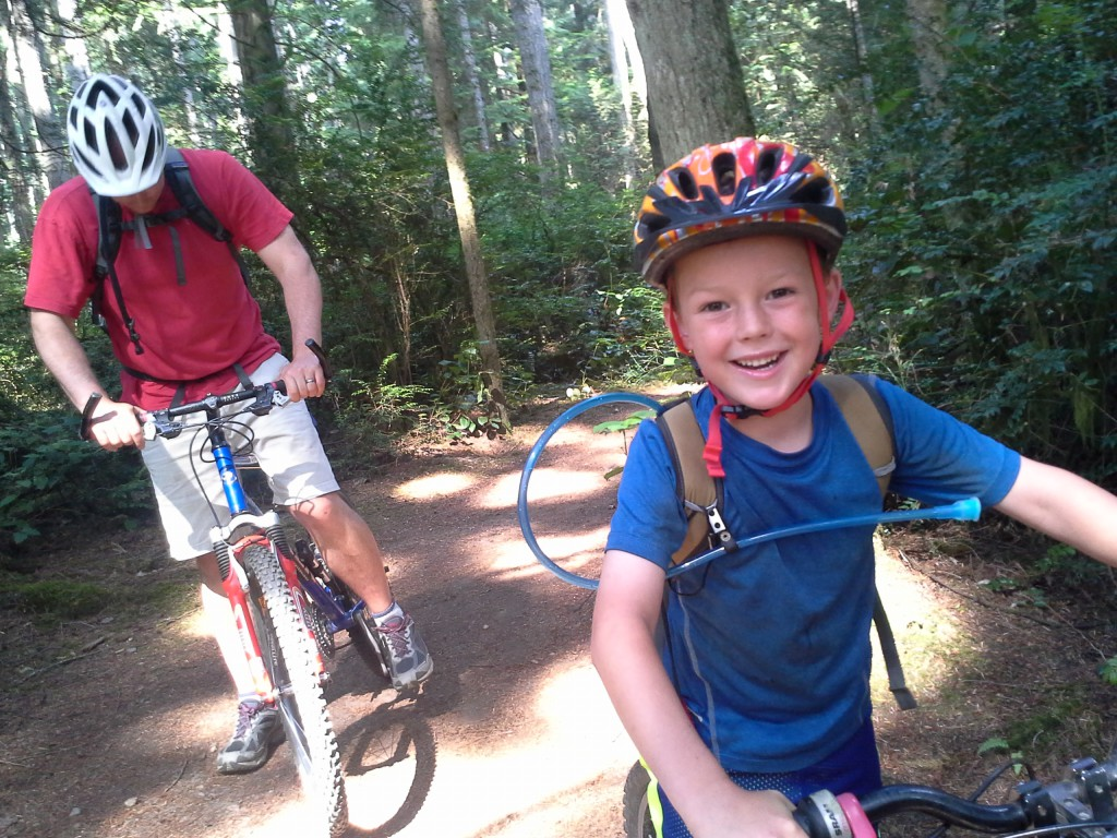 More mountain biking at Grand Forest! Ben is certified by Dave as a competent mountain biker, handling all of the trails, including steep, gravelly slopes and single track, with skill. Good for you, Ben!