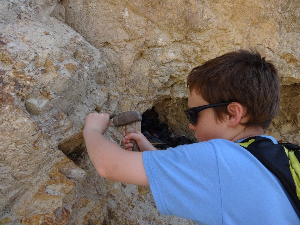 Chiseling out fluorite geodes at the Rock Candy Mine in British Columbia, owned by our guide, Bob Jackson. He led an awesome trip! Boys were so excited the whole time despite long days and drives.