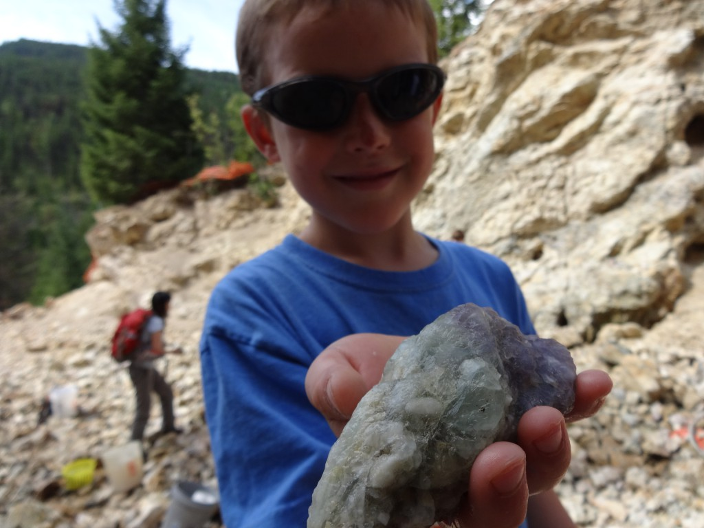 Ben loved digging up big fluorite crystals.
