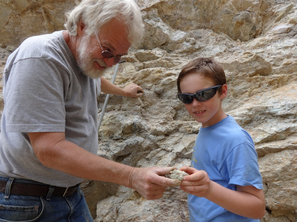 Sam captured a great fluorite octahedron with Bob as mentor!
