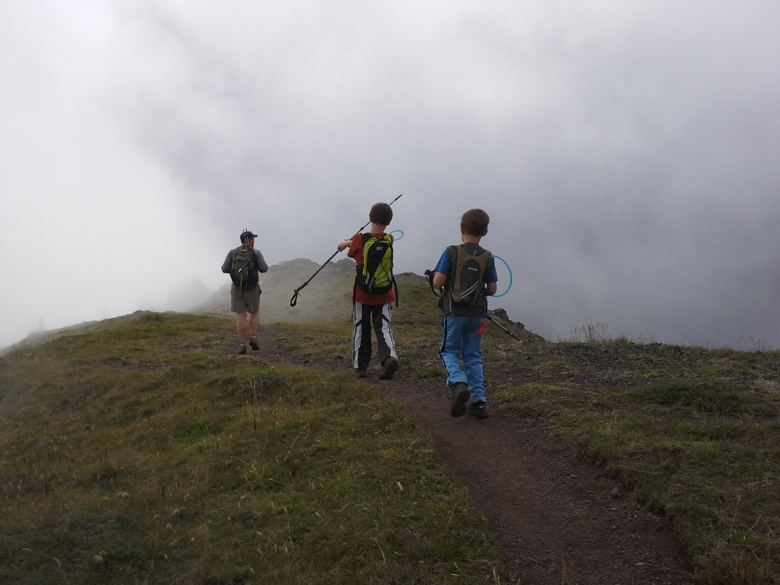 Nearly at the summit of Mt. Townsend! We're still hoping we'll eventually break through the clouds.