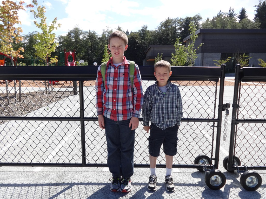 Here they are after their first day of school! Handsome guys getting very tall! Sam is an inch from 5 ft tall and Ben is 4 ft 2 in.