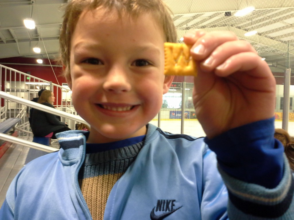 "At a hockey game, Ben found this on the floor. ""Mom! It's a W for Warriors!"""