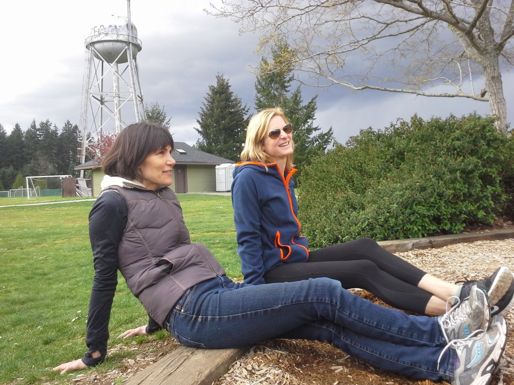 This is seriously ominous sky behind us, but we really enjoyed hanging out together. Those ominous skies kept EVERYONE else out of the park. We were the only ones left to enjoy the narrow swath of sun over Bainbridge.