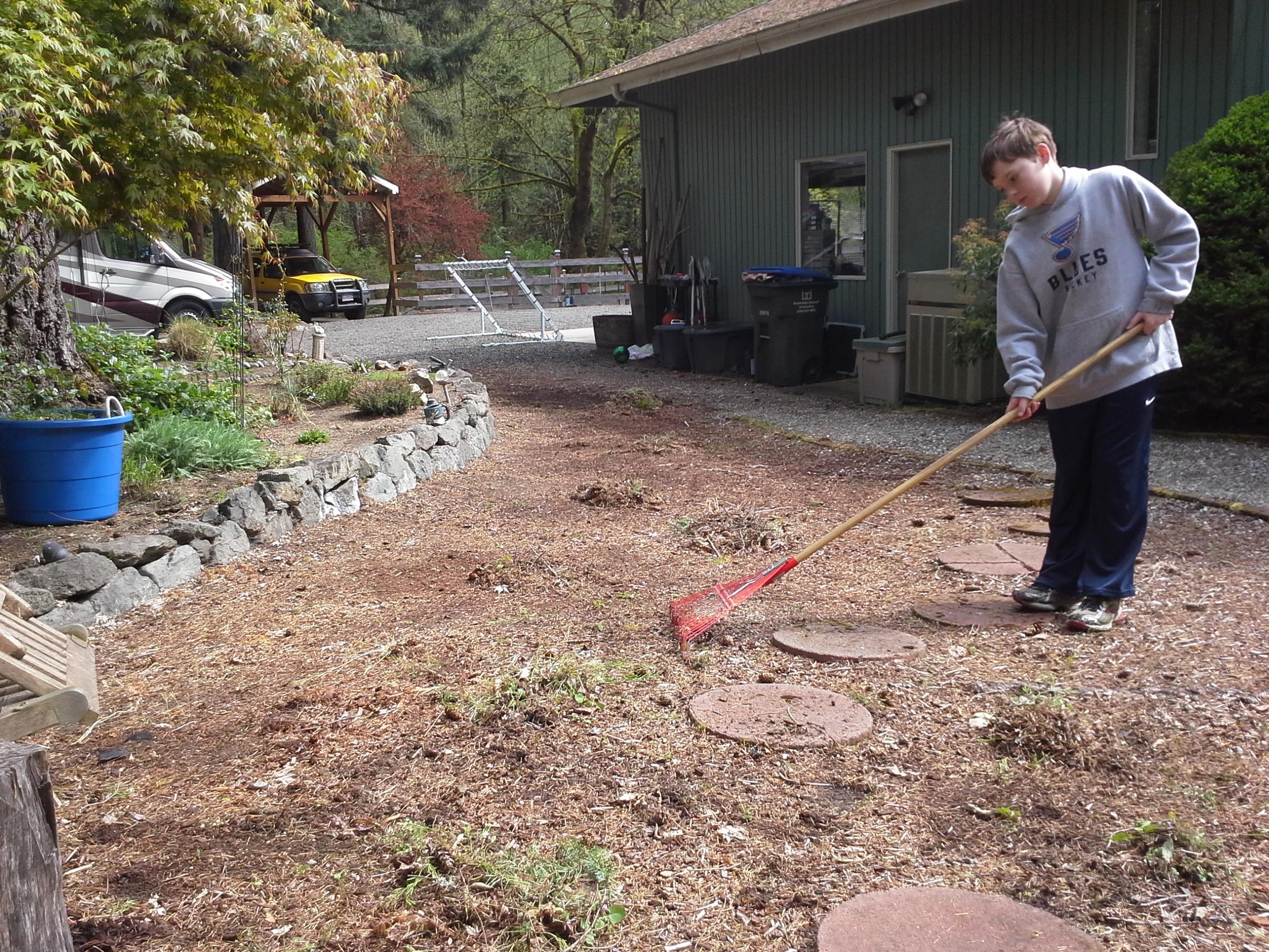 Sam doing some raking during a big yard work effort!