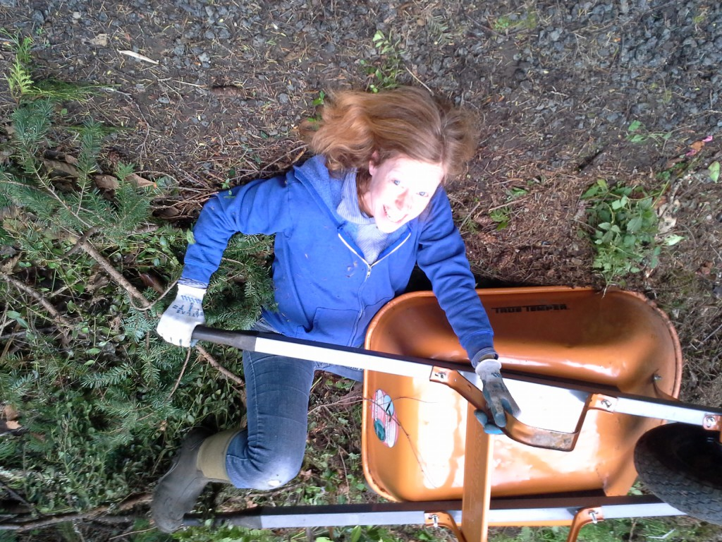 Mommy got stuck trying to get the wheelbarrow out!