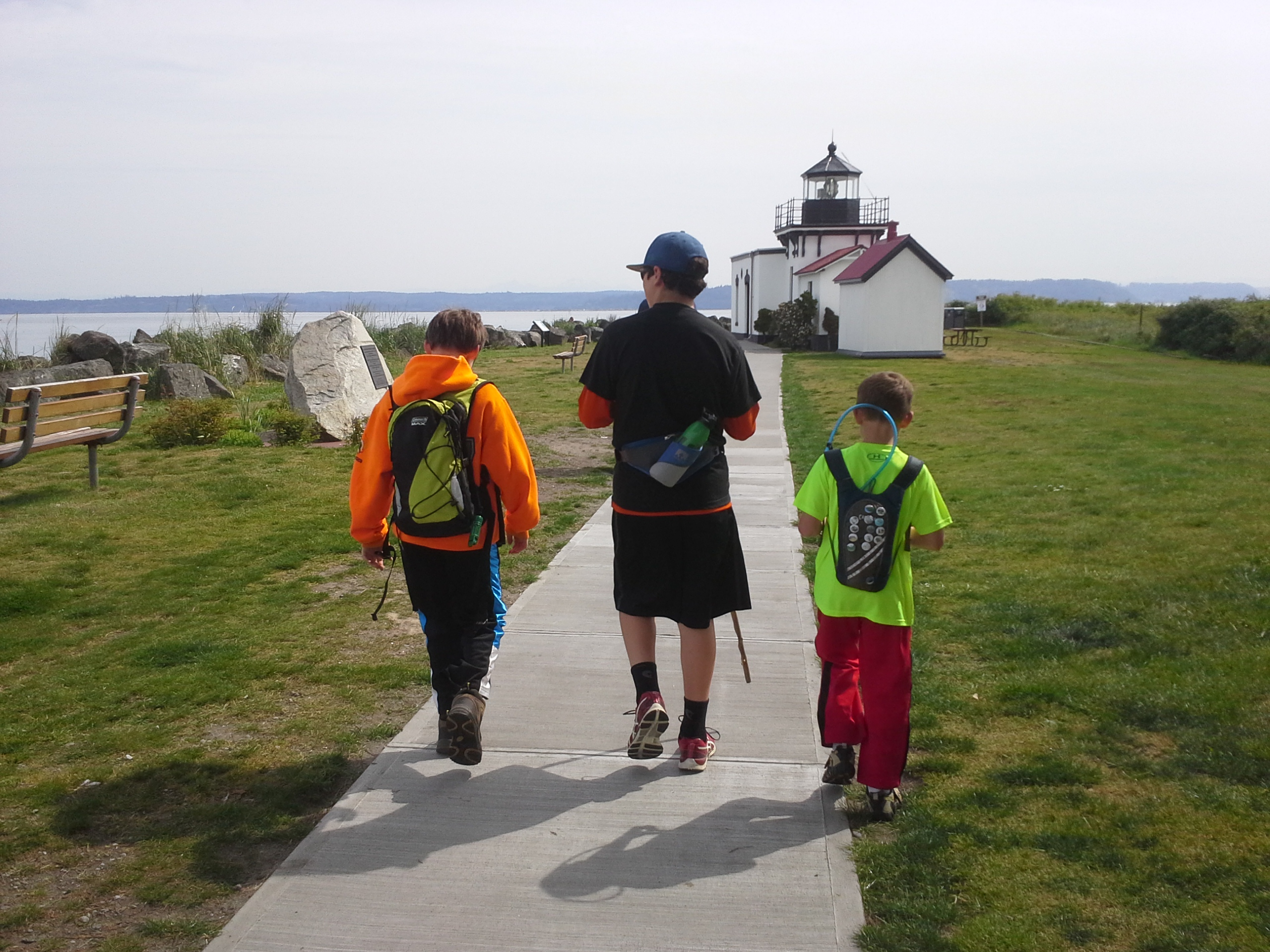 The start of a beautiful Mother's Day hike with friends - this is at Point No Point Lighthouse. 11K walk through the Hansville Greenway. From L to R: Sam, Adam, Ben.