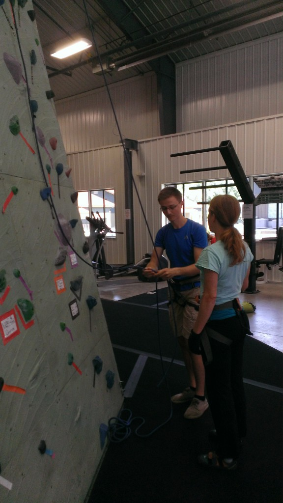 Cameron is my belayer. He's telling me the commands to use. I'm thinking of Uncle Tom here, big time!