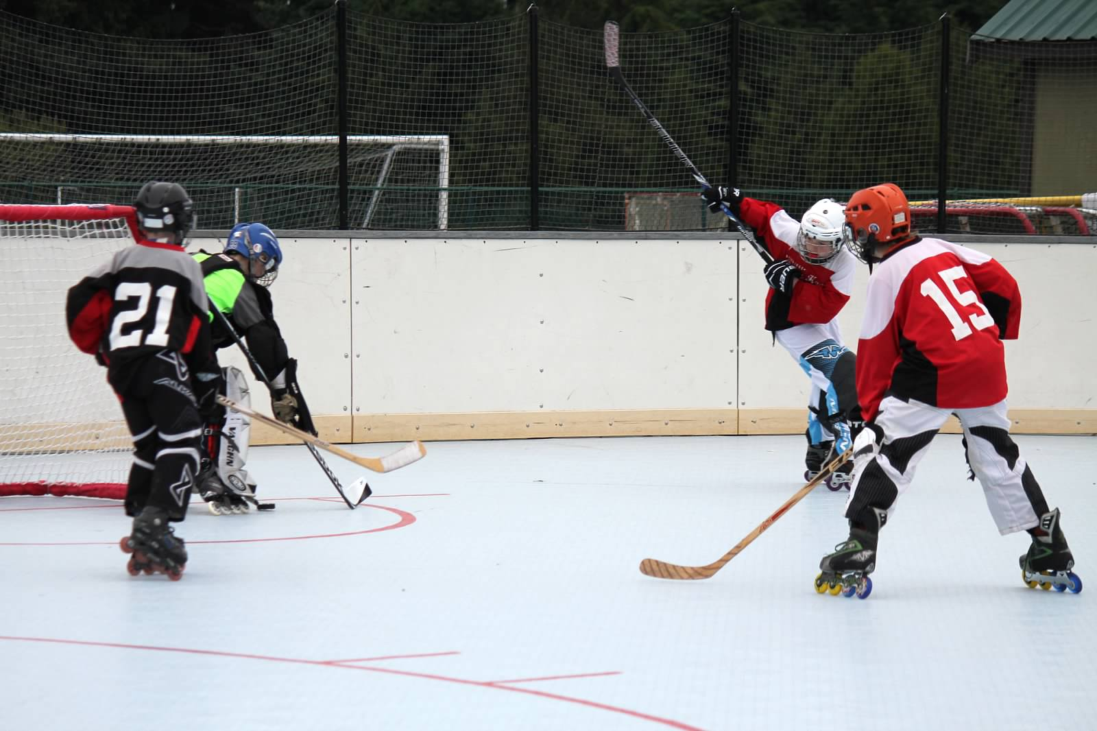Some serious backhand here! Is that high sticking if it's a back hand? This hockey mom does NOT know much still!