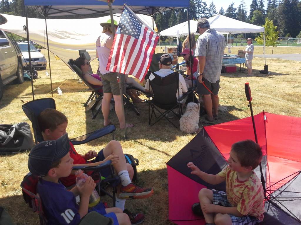 Roller hockey mini-tournament - thanks for the camping flag, Dad! We are putting it to excellent service!