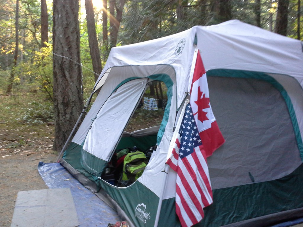 Dad - notice the Canadian  flag hanging properly above your/our camping flag :)