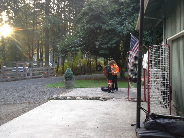 This is the morning routine - neighbor Kai pops over on his way to the bus and they work on cubing algorithms or shoot the hockey puck. It's awesome. We are SO lucky to have great neighbors and be so close to the bus stop.