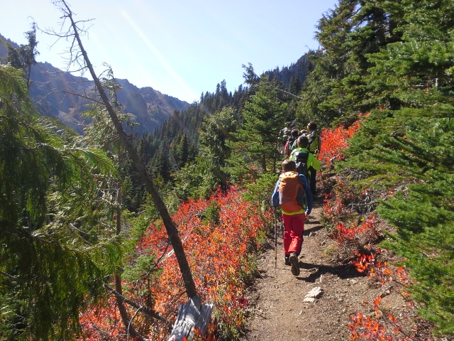 """We're hiking up Marmot Pass - called the """"champagne hike"""" of the Olympics, with our hockey buddies. No parents could go this time so it was just Dave and me on point. Ben was hard to stop - he got to Marmot Pass and kept on going up to Buckhorn! He's nuts."""