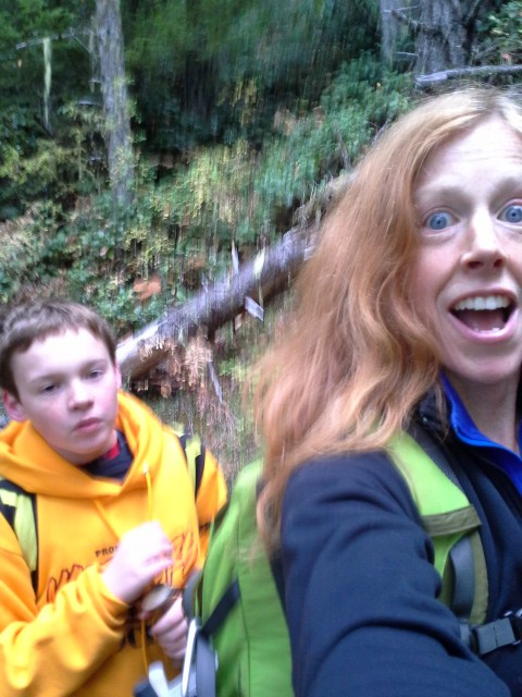 We're taking a hike up Mt. Zion because there are NO SPORTS games today! Wow! So I cut the boys loose (only Ben was on board) and took off. We had a great time. This is me finding out, though, that Sam has decided to hike WITHOUT SOCKS in shoes WITHOUT SOLES (my fault - he needs new shoes) on a day with 30% chance of rain! It all worked out ok, but hopefully he'll make better choices. Oddly, I had a long conversation with Ben about proper shoe choice and Sam must have thought none of that applied. ;)