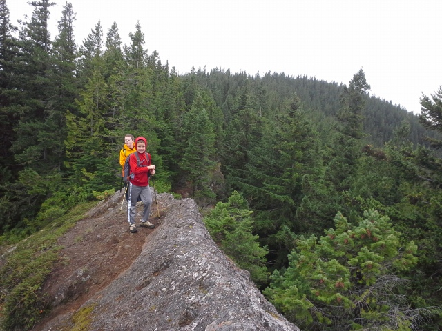 We hiked past the summit to check out the ledges which offer great views to the Olympics. We were not disappointed. The spitting rain stopped for us to enjoy some time up there.