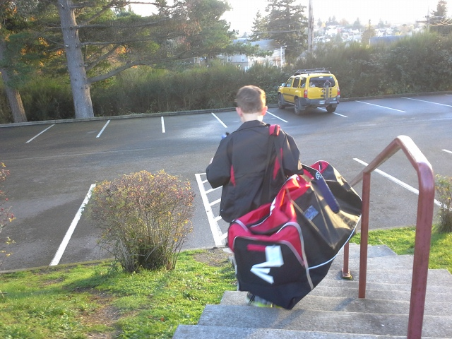 Ben leaving after a game. His bag is as big as he is!