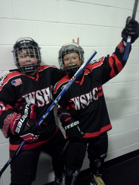 "A ""happy Ben"" picture after a great hockey game! This is his buddy Sam (not brother Sam)."